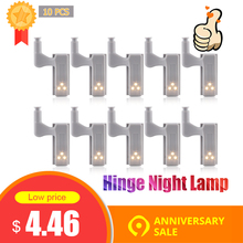 10pcs 유니버설 LED 캐비닛 빛 찬 장 내부 힌지 램프 옷장 옷장 센서 빛 홈 부엌 밤 빛