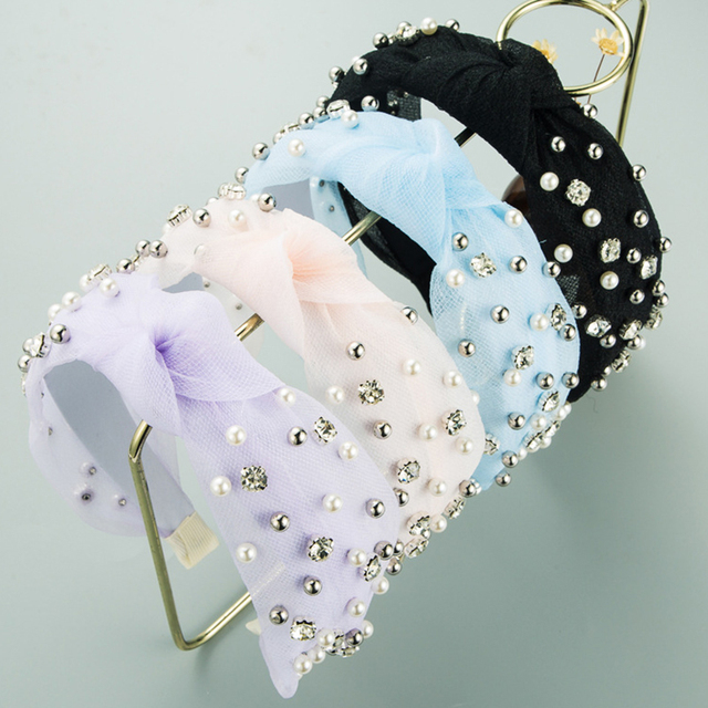 Summer Lace Knot Hair Hoop Pearl Rhinestone headbands 1