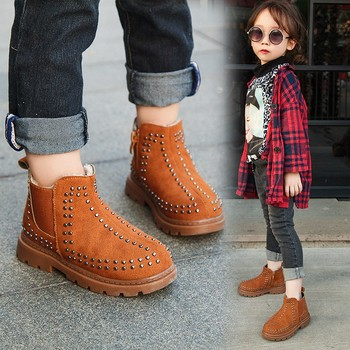 New Rivet Children'S Autumn Girl Ankle Boots For Kids Martin Snow Fashion Waterproof Winter Shoe 4 5 6 7 8 9 10 11 12 Year Old фото