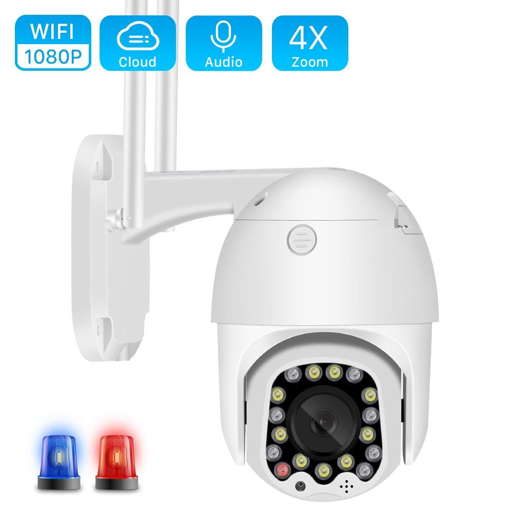 1080P Cloud Wifi PTZ Camera Siren Alarm 4X Digital Zoom Speed Dome Camera Outdoor 2MP Auto Tracking CCTV Home Security IP Camera