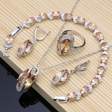 925 Sterling Silver Bridal Jewelry Champagne Zircon Jewelry Sets for Women Earrings/Pendant/Rings/Bracelet/Necklace Set