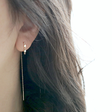 925 Sterling Silver 14k Gold Inlaid Crystal French Diamond Tassel Ear Line Women Retro Classic Party Jewelry Accessories