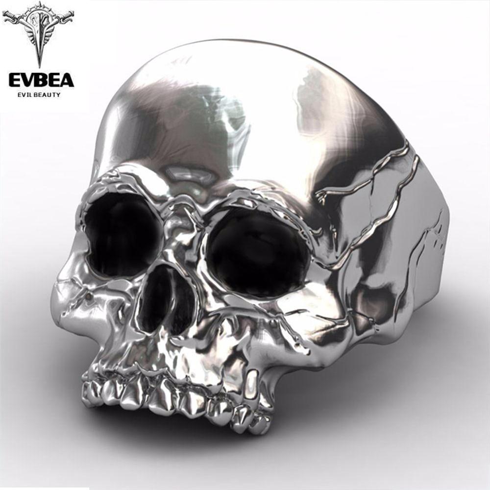 EVBEA Big Punk Biker Skull Ring For Man Stainless Steel Unique Men Cool Jewelry Vintage