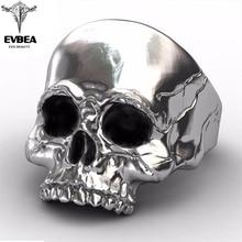 лучшая цена EVBEA Big Punk Biker Skull Ring For Man Stainless Steel Unique Punk Men Cool Jewelry Vintage Jewelry