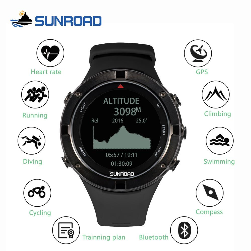 SUNROAD smart GPS heart rate altimeter outdoor sports digital watch for men running marathon triathlon compass swimming watch image