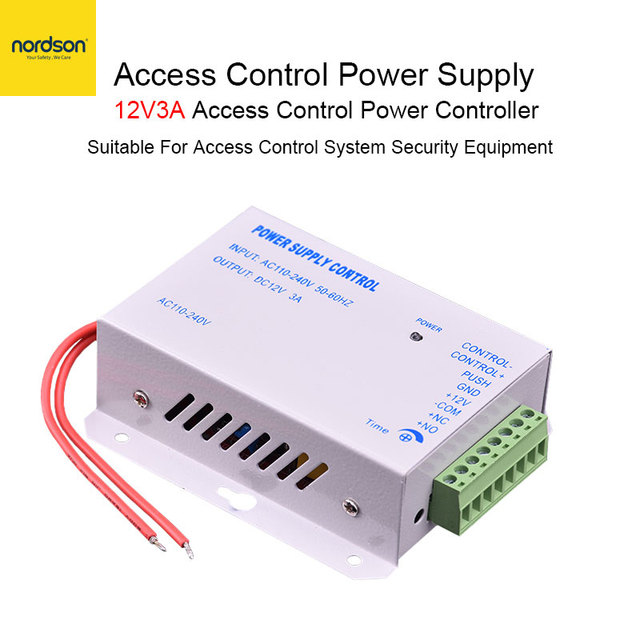 Nordson Original Access Control Power Supply DC 12V 3A  Gate RFID Electric Lock Switching Adapter Covertor System AC 110-240V