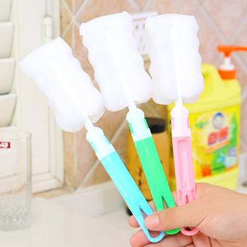 1pc losowy kolor butelka wody narzędzia do czyszczenia termos długa rączka szczotki z gąbki nietoksyczny Bbay butelka do karmienia szczotki tanie i dobre opinie 13-24m 25-36m 4-6y CN (pochodzenie) Butelka dla niemowląt Sponge HG66404 Jednokrotnie załadowane PP+ sponge 9 4*3 9*2 4 in 24*10*6cm