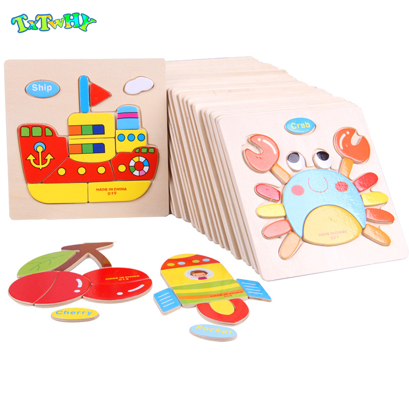 Montessori Toys Educational Wooden Toys For Children Early Learning Puzzle 3D Cartoon Kids Exercise Math Match Gift