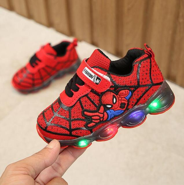 Luminous Spiderman Kids Shoes for boys girls 5