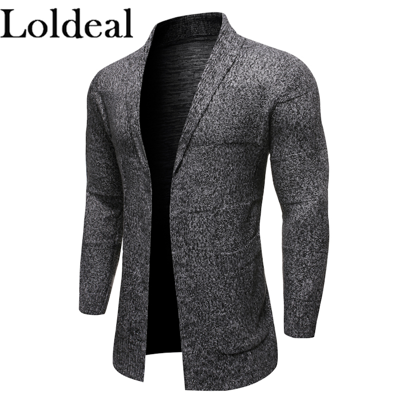 Loldeal Long Sweater Cardigan Business Men Solid Color Knit Lapel Mixed Cotton Comfort