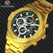 FORSINING deportes relojes para hombre marca de lujo automática mecánica reloj esfera con mecanismo al descubierto de acero inoxidable correa de reloj de negocios