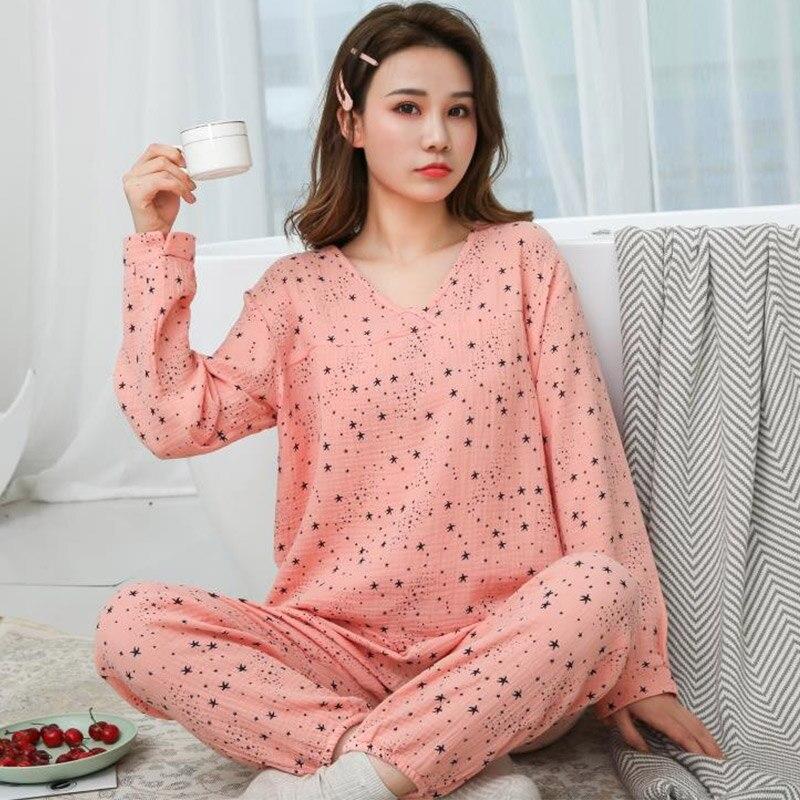 Женский хлопковый пижамный комплект с v-образным вырезом, водостираемая ткань, креп, марля, длинный рукав, брюки, 2 предмета, 2020 Весенняя женс...
