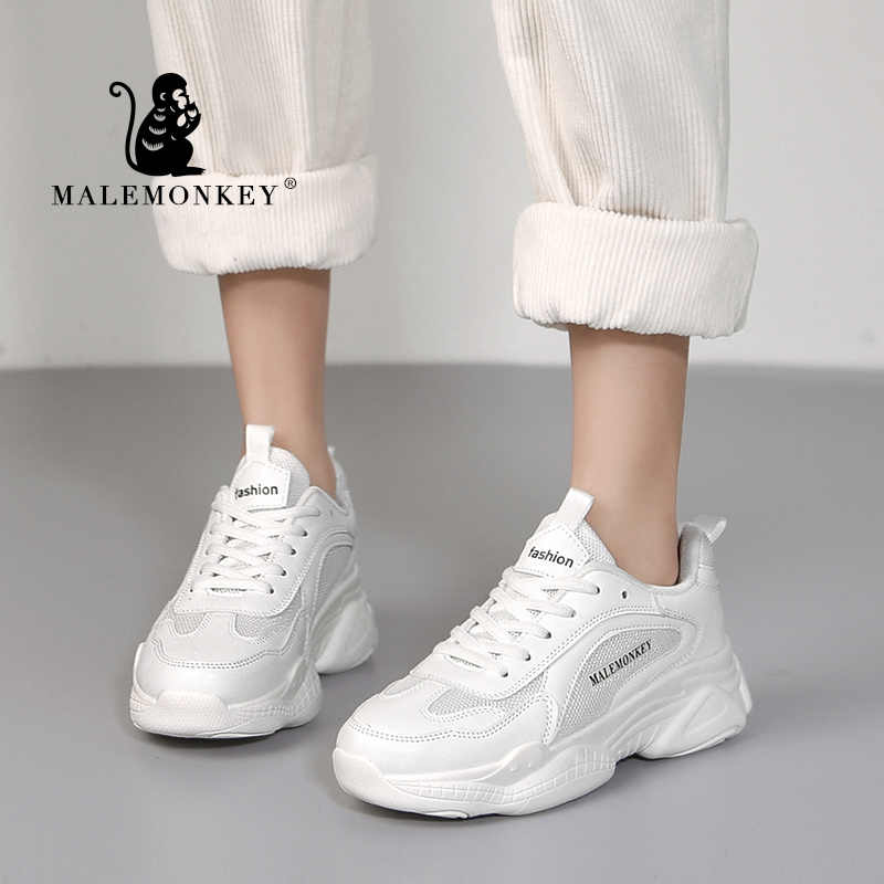 Dành Cho Nữ Giày Trắng 2020 Thời Trang Nữ Nền Tảng Thể Thao Thoáng Khí Phối Ren Nữ Dành Cho Nữ MALEMONKEY 911938