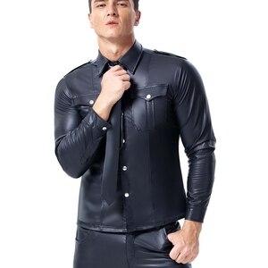 Image 2 - 男性フェイクレザー長袖シャツ Pu レザー Tシャツ男性セクシーなフィットネスゲイラテックス Tシャツ Tシャツトップス男性セクシーなパーティークラブウェア