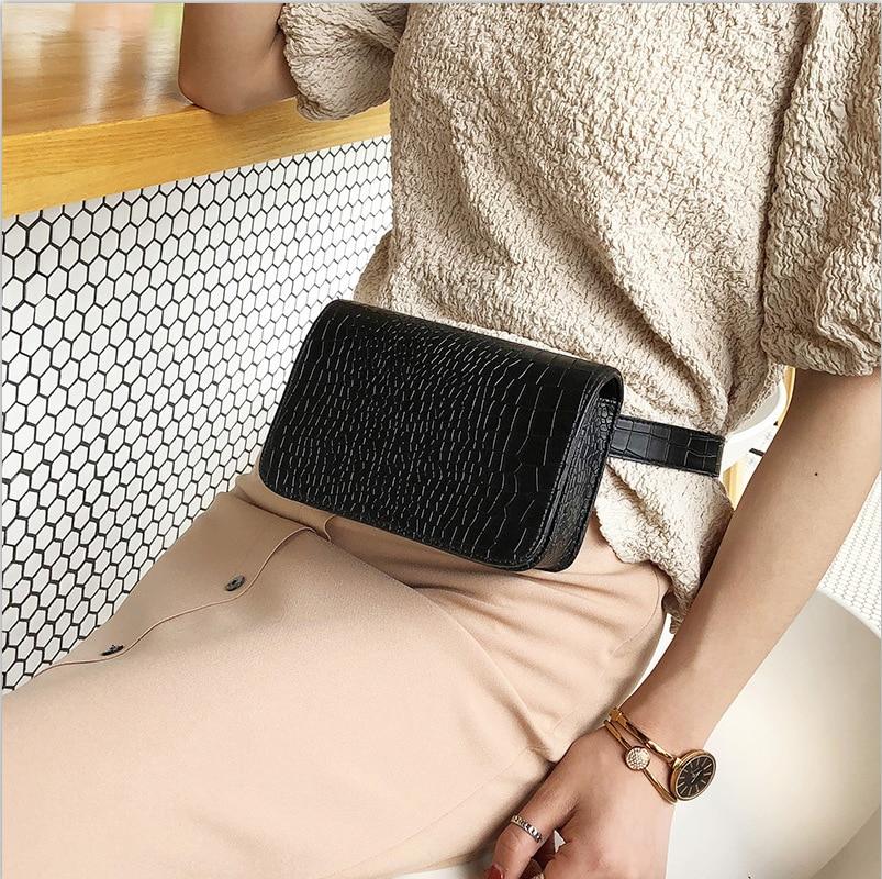 Women Waist Pack PU Leather Alligator Waist Bag 2019 Vintage Fanny Pack Leather Messenger Chest Bag Ladies Travel Belt Wallets