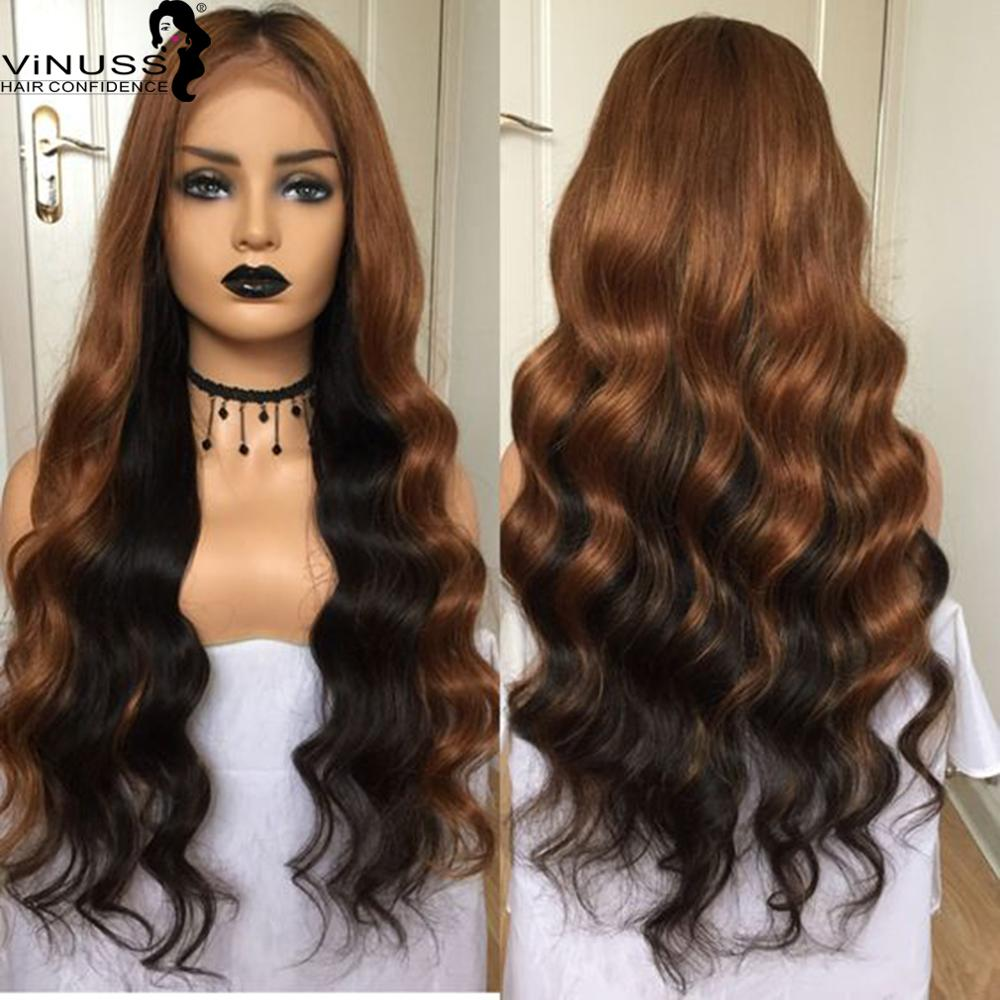 Ombre 30# Loose Wave 13x6 Lace Front Human Hair Wigs Pre Plucked Hairline Remy Bleached Knots Glueless Straight Human Hair Wigs(China)