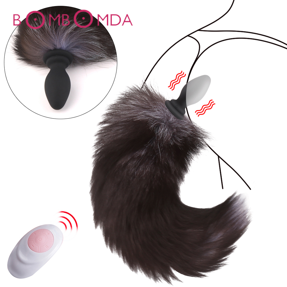 Anal Vibrator With <font><b>Fox</b></font> Tail <font><b>Dildo</b></font> Anal Plug <font><b>Remote</b></font> Control Anus Dilator For Women Adult Cosplay Accessories Vibrating Butt Plug image