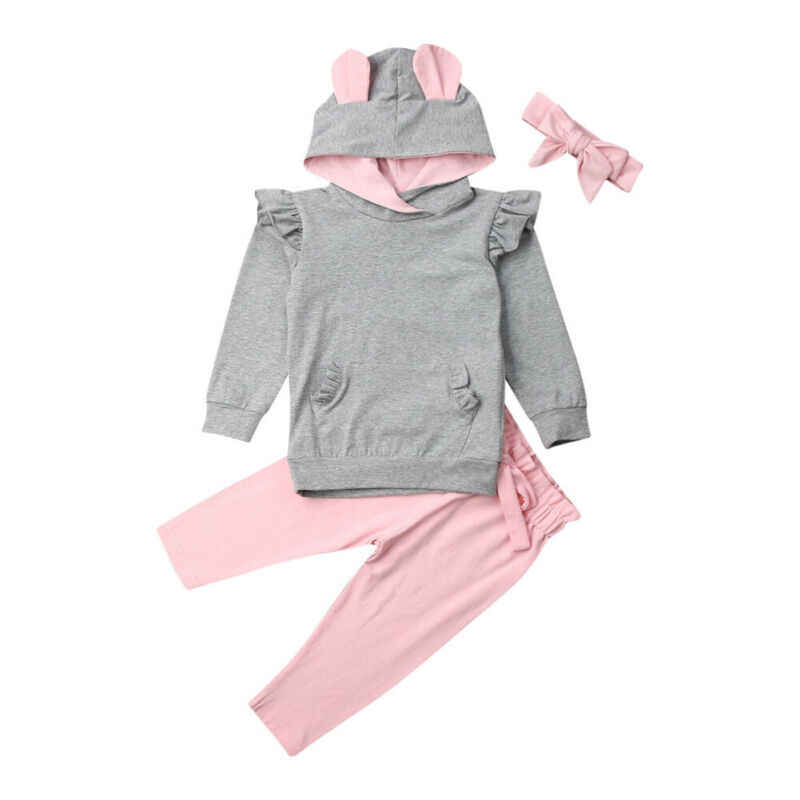 2019 Herfst Pasgeboren Baby Meisje Kleding Konijnenoren Lange Mouwen Tops + Leggings Broek Outfit Set 2 Stuks