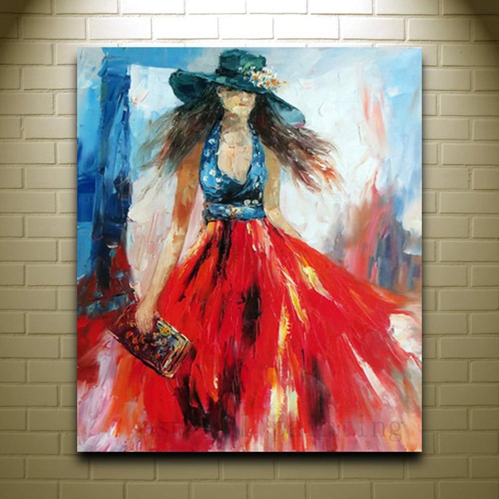 Ручная работа, Женская портретная картина маслом, изобразительное искусство, импрессионная Картина на холсте для домашнего декора, красная...
