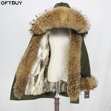 Oftbuy 2020 防水生地パーカー冬のジャケットの女性本物の毛皮のコート自然アライグマの毛皮のフード本物のウサギの毛皮ライナーストリート
