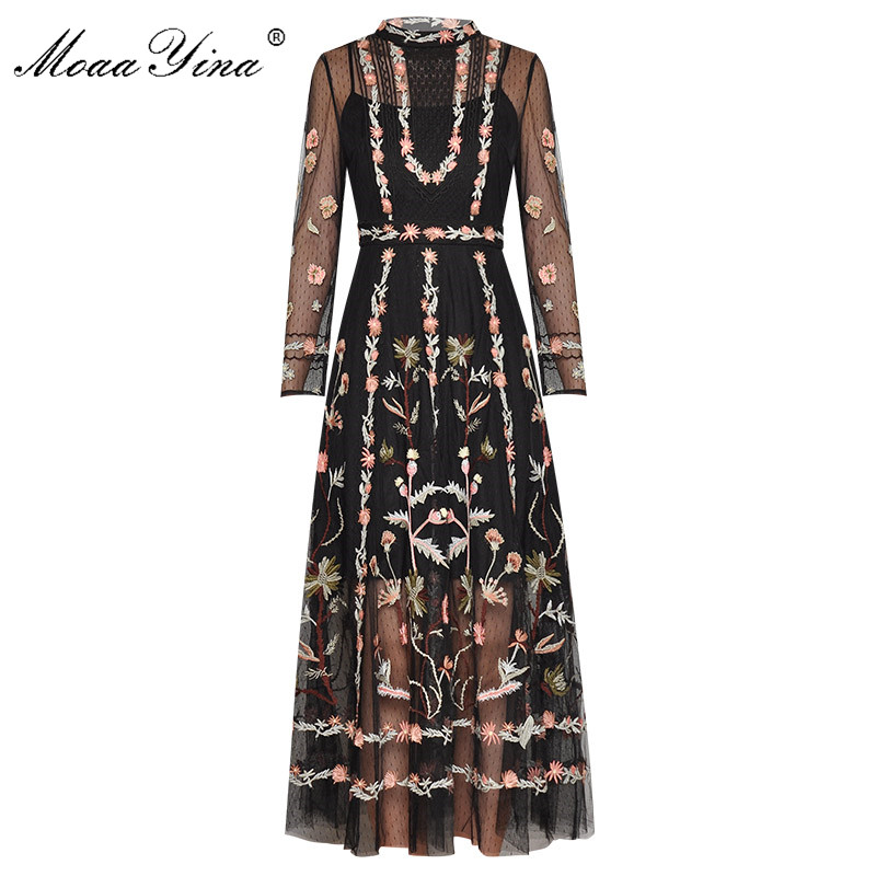 MoaaYina Fashion Runway Dress Spring Summer Women's Dress Long Sleeve Lace Mesh Embroidery Slim Elegant Dresses