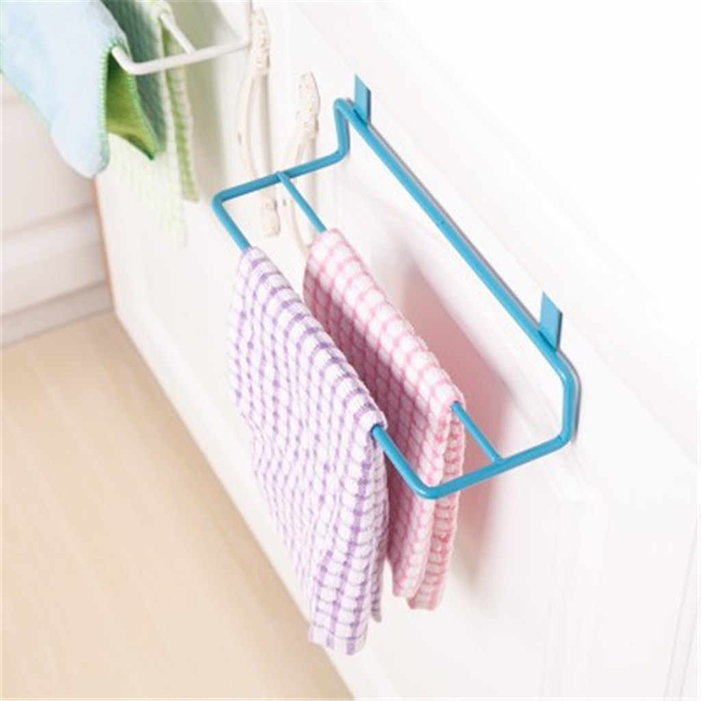 Towel Rack Hanging Holder Cupboard Door Back Trash Rack Storage Garbage Bag Holder Kitchen Cabinets Storage Towel Shelf Holders