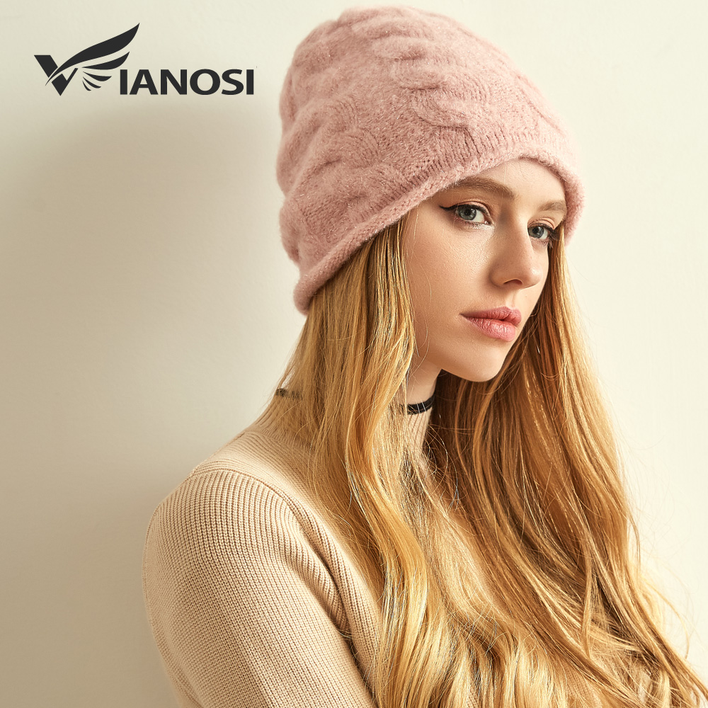 VIANOSI 100% Winter Wool Hat For Women Warm Knitted  Casual Beanie Caps