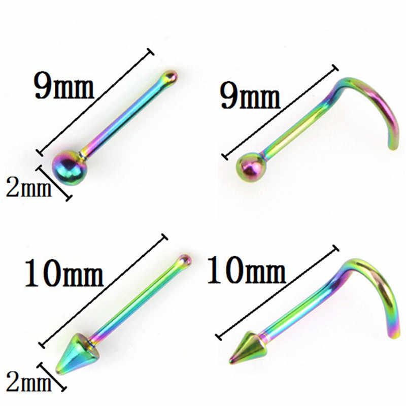 24 pçs/lote Coloridos Anéis de Nariz Labret Bar Lip Piercing para Mulheres Dos Homens Jóia Do Corpo Piercings Pregos Orelha de Aço Inoxidável