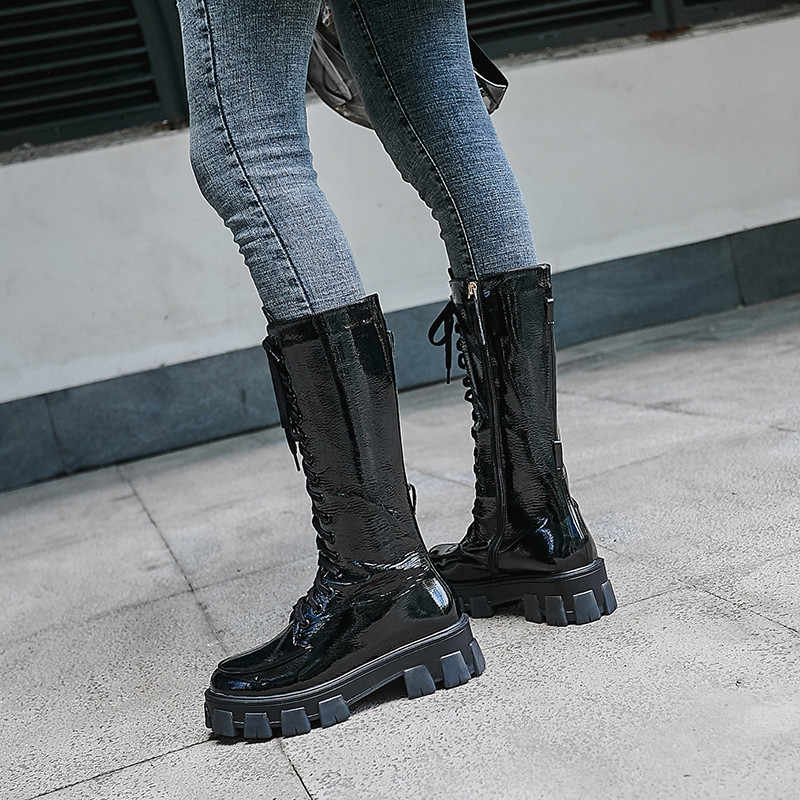 FEDONAS Punk kadınlar hakiki deri diz yüksek çizmeler kadın motosiklet botları gece kulübü ayakkabı kadın platformu çizmeler tıknaz topuklu