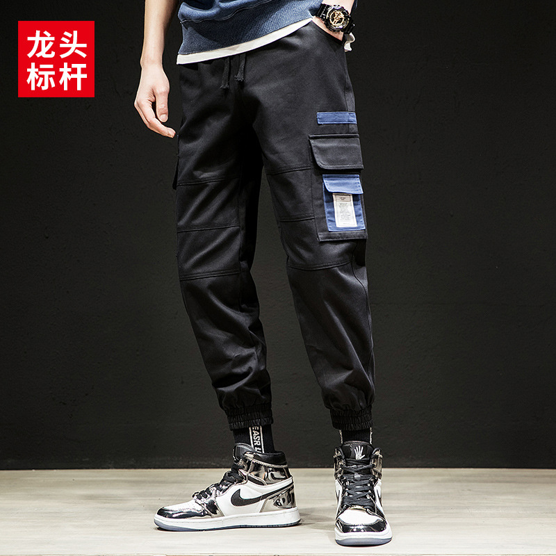 Leading Benchmark Spring New Style Bib Overall Teenager Stereo Pocket Contrast Color Beam Leg Casual Pants Men's