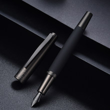 Hongdian 6013 preto metal caneta tinteiro titânio preto ef/f/bent nib gun-preto tampa clipe excelente escritório de negócios presente caneta de tinta
