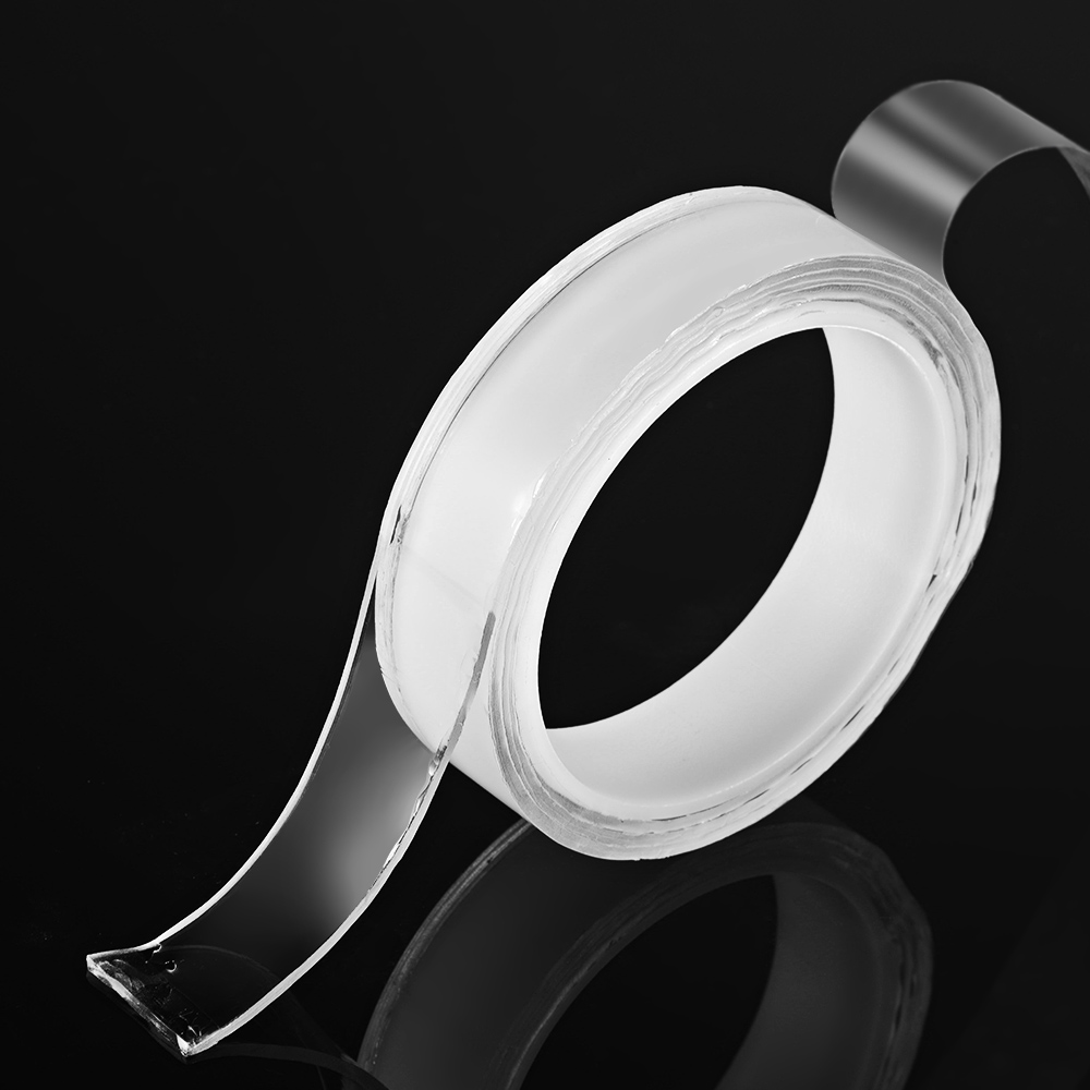 1m/3.3ft Washable Traceless Double-sided Adhesive Tape Removable Reusable Anti-slip Transparent Gel Tape Pad Sticky