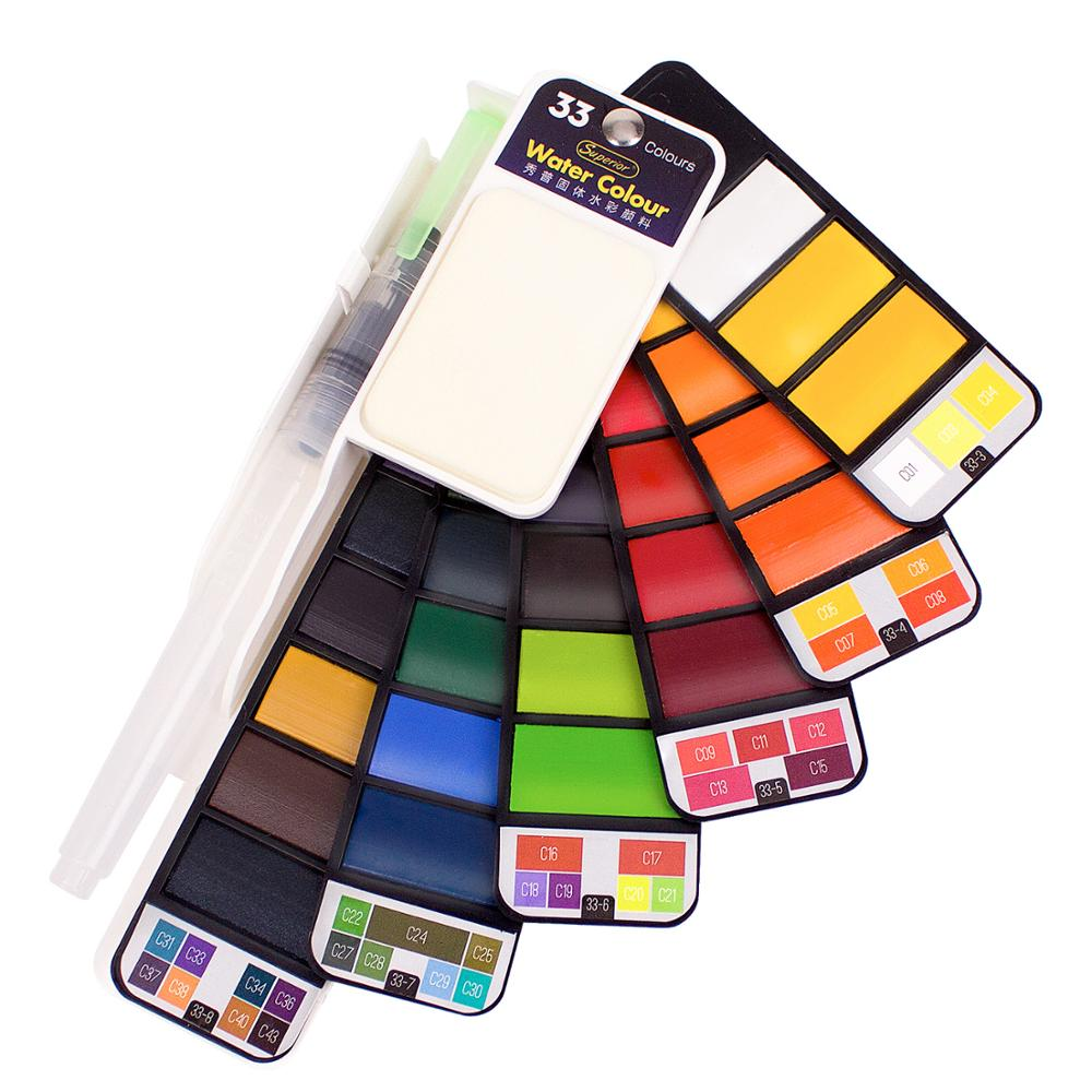 Professional Watercolor Paints 18 24 33 42 Colors Solid Watercolor Travel Set for The Artist Art Supplies Portable Drawing Kits