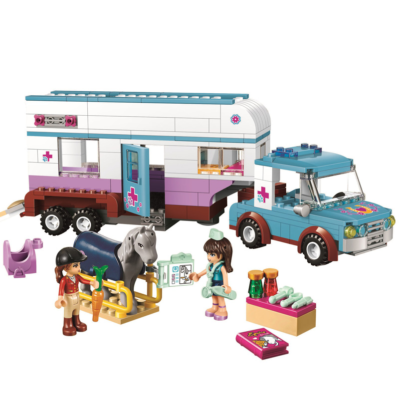 10561 Friends Series Horse Vet Trailer Car Model Building Block Bricks Compatible With Legoinglys Friends 41125 For Gifts