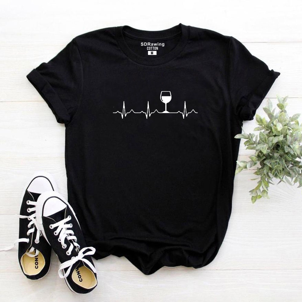 Harajuku Wine Heartbeat Women Tshirt Cotton Casual Funny T Shirt Lady Yong Girl Top Graphic Tee Higher Quality Drop Ship