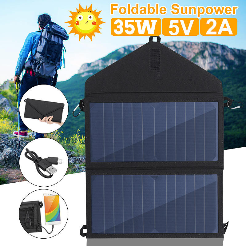 Folding 35W Solar Panel Sun Power Outdoor Solar Cells Charger 5V 2A USB Output Devices Portable Solar Panels For Smartphones