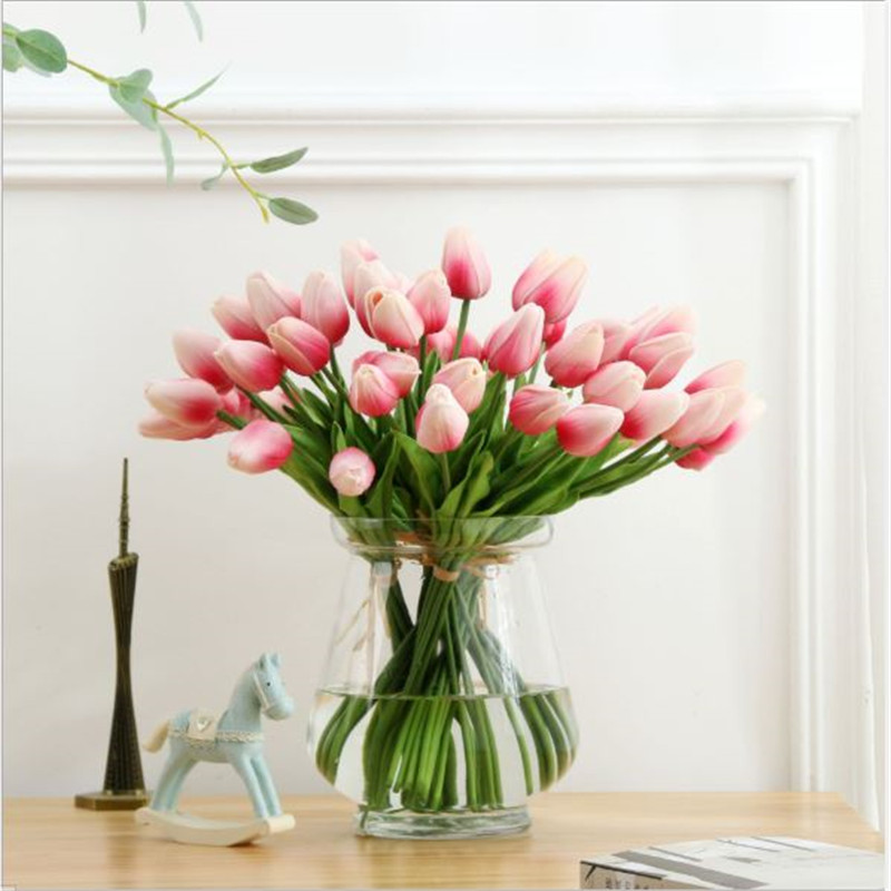 1PC PU Mini Tulips Artificial Flowers For Home And Wedding Decoration Flowers 59