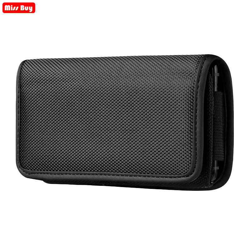 Universele Telefoon Zakje Voor iPhone X 11 8 7 6 6S Plus 5 5S SE 5C 4 4S Xr Xs Max Case Belt Clip Holster Oxford Doek Tas Flip Cover