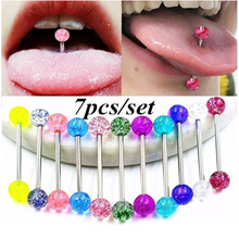 7 pcs/lot Nice Flashing Powder Tongue Piercing Rings Acrylic Nipple Ring Helix langue Earrings Jewelry