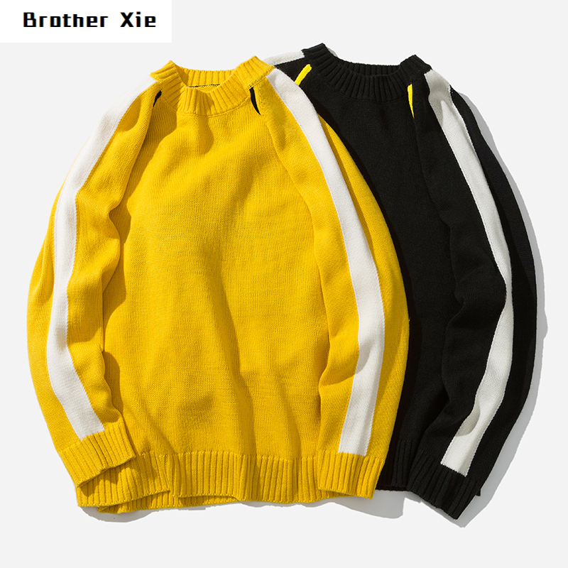 Winter New Sweater Men Fashion Casual Contrast Color Knit Pullover Man Streetwear Wild Loose Warm Letter Sweater Male Clothes