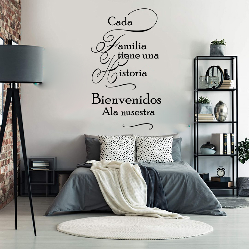 Large Spanish Every Family Has A Story Wall Sticker Living Room Bedroom Spanish Cada Familia Tiene Una Historia Family Decal Wall Stickers Home Garden Aliexpress