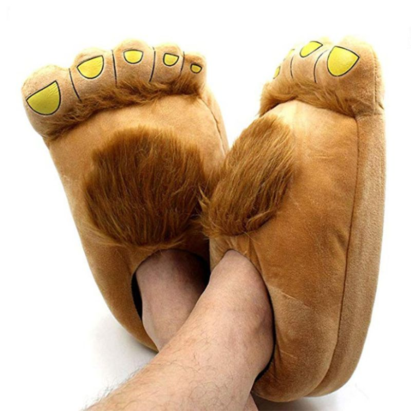 Fashion Men's Big Feet Furry Monster Adventure Slippers Comfortable Novelty Warm Winter Brown Color