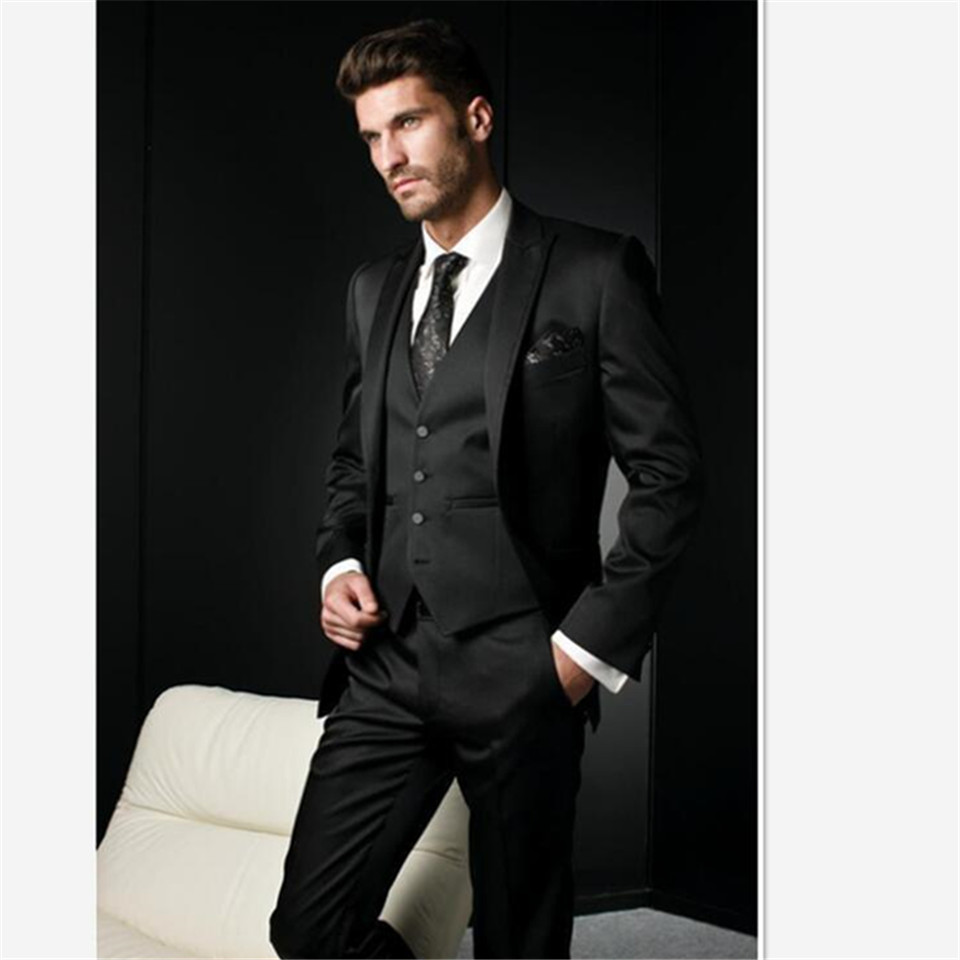 New Classic Men's Suit Smolking Noivo Terno Slim Fit Easculino Evening Suits For Men Notched Lapel Black Groom Tuxedos Groomsman