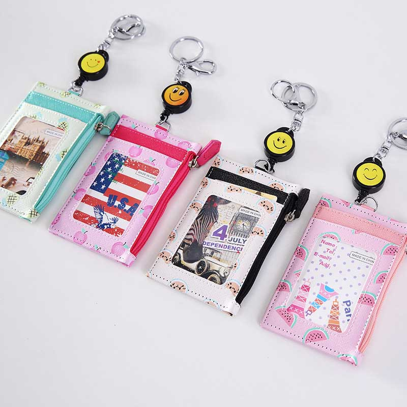 Cute Fruits High Quality Shaped Named Card Holder Identity Badge With Badge Reel PU Card Bus ID IC Holders With Key Chain