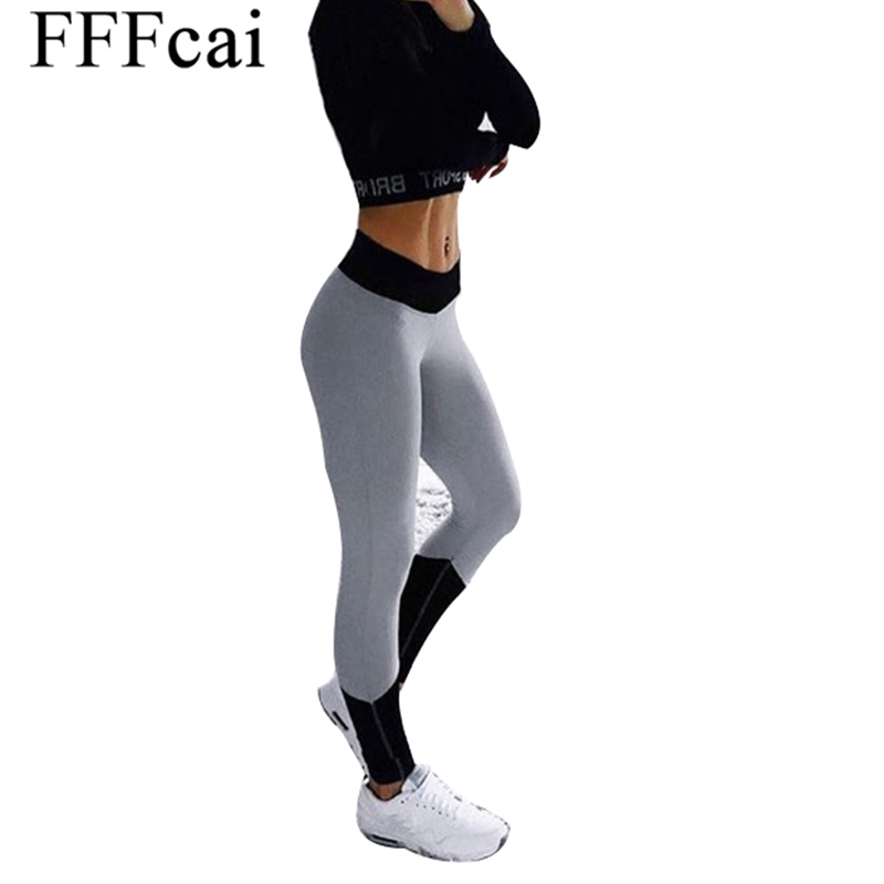 FFFcai 2018 Yoga Pants Women Sports Clothing Patchwork Color Yoga leggings Fitness Yoga Running Tights Pants Compression Tights