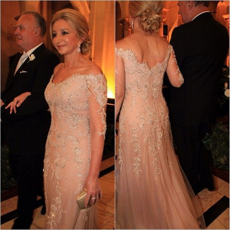 Champange Tulle Appliques Lace Mother Of Bride Evening Dresses For Wedding 2020 Long Sleeves Groom Godmother Dresses