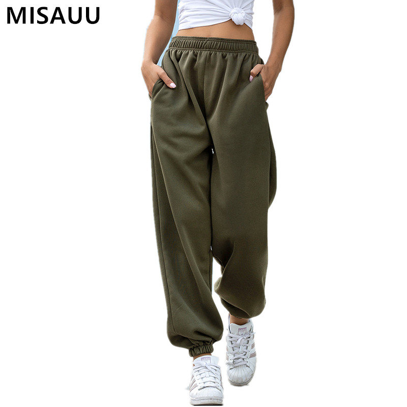 Baggy Pants Women Plus Size Black Autumn Wide Leg Sweat Pants Oversized Joggers Streetwear High Waisted Sports Casual Trousers