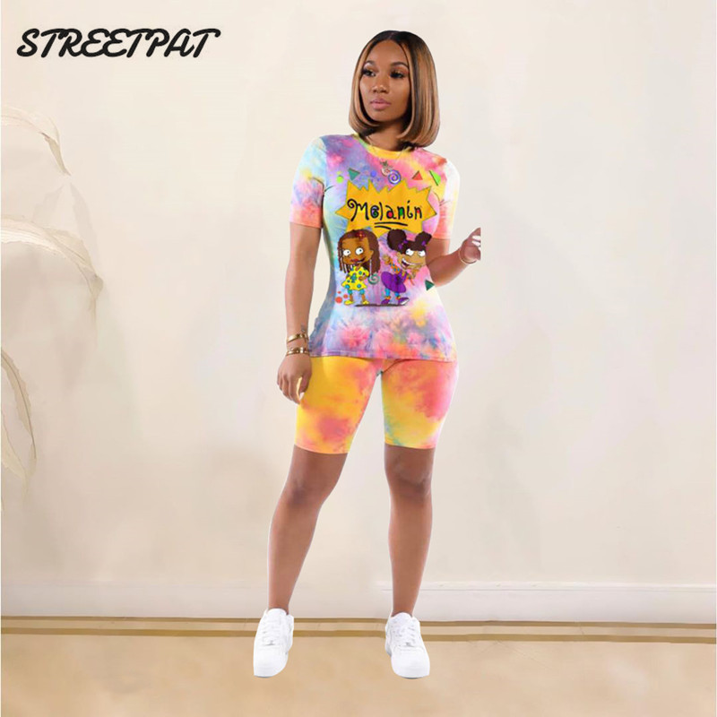 Tie Dye Zwei Stück Set Frauen T-shirt Tops Biker Shorts Outfits Schweiß Anzüge Frauen Trainingsanzug Chandal Mujer 2 Piezas Jogging femme