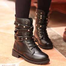 Women Leather Mid Calf Boots Vintage Lace-Up Belts Army Punk Gothic Motorcycle