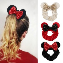 2021 New Arrival Pretty Mouse Ears Sequins Hair Bow Women Velvet Scrunchies Fashion Waist Hair Bands Headband For Girl Headwear